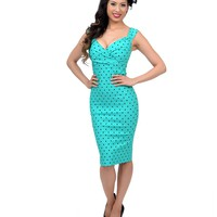 Mint & Black Polka Dot Diva Wiggle Dress - New Arrivals!