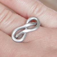 Infinity Knot Ring Unisex Ring Silver by Karismabykarajewelry