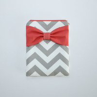 iPad Case - Android - Microsoft Tablet Sleeve - Gray and White Chevron Coral Bow - Padded - Sized to Fit Any Brand