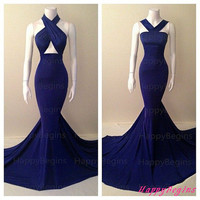 Mermaid Long Prom Dress/ Navy Blue Long Backless Prom Dress/ Fashion Evening Dress/ Party Dress 2014