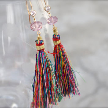 Arabian Nights - Rainbow tassel earrings Multi colour dangle Pink mystic quartz gemstone rondelle 14k gold Chinese Asian Silk road Bohemian