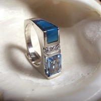 Blue Topaz Cubic Zirconia and Blue Turquoise in Sterling Silver Ring R | RioFire - Jewelry on ArtFire