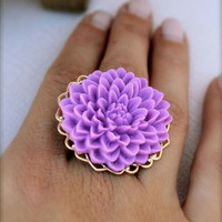 Purple Chrysanthemum RingAdjustable by labellemoon on Etsy