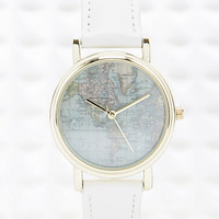 Globe Face Watch with Leather Strap in White - Urban Outfitters