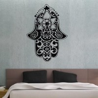 Hamsa Hand Fish Eye Indian Buddha Ganesh Wall Vinyl Decal Art Sticker Home Modern Stylish Interior Decor for Any Room Smooth and Flat Surfaces Housewares Murals Graphic Bedroom Living Room (3635)