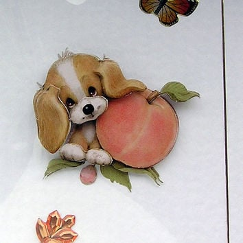Puppy Love Hand-Crafted 3D Decoupage Card - Blank for any Occasion (1699)