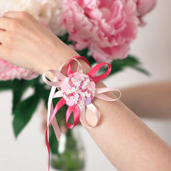 Ribbon flower Bracelet - Pink White Sequins - Hand embroidered felt jewelry