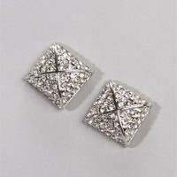 Pyramid Stud Rhinestone Earrings