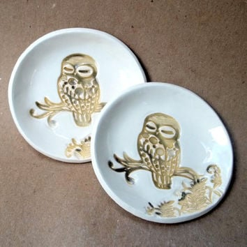 Ceramic Set of TWO Tiny Owl Ring Bowls Tea bag holders