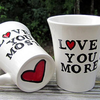 Set of 2 custom red heart word mugs kiln fired art pottery great anniversary present