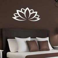 Lotus Flower Patterns Indian Design Wall Vinyl Decal Art Sticker Home Modern Stylish Interior Decor for Any Room Smooth and Flat Surfaces Housewares Murals Graphic Bedroom Living Room (1996)