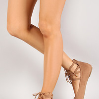 Bamboo Object-68 Lace Up Pointy Toe Ballet Flat