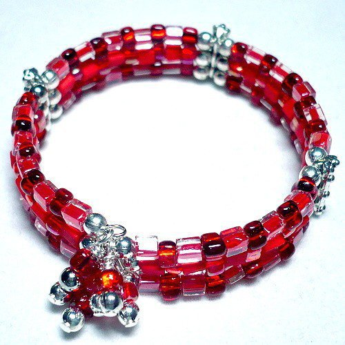 Red 3-Strand Memory Wire Cuff Bracelet with Dangles | KatsAllThat - Jewelry on ArtFire