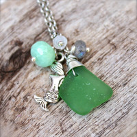 Mermaid Jewelry from Hawaii, Hawaiian Sea Glass Necklace for beach brides & island weddings, green seaglass with gemstones