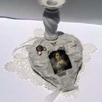 Shabby Chic Victorian Inspired Hanging Heart Ornament Girl Photo