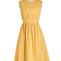 Emily and Fin Long Sleeveless A-line Too Much Fun Dress in Creme Dots - Long