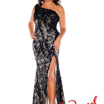 Fabulouss by Mac Duggal 76624F Black Lace Dress