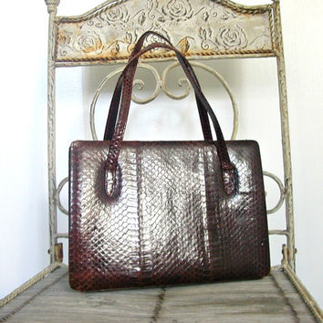 Vintage Snakeskin Bag / 60s handbag / kelly bag / structured purse / medium brown purse / mod bag
