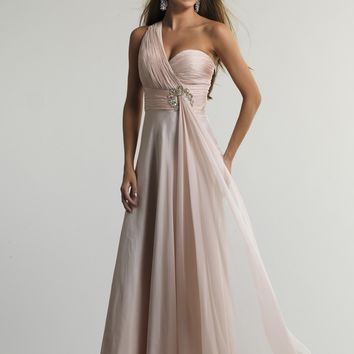 Dave & Johnny 10438 One Shoulder Gown