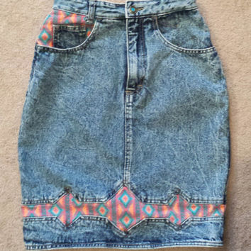 80s Rare, Unique Vintage High Waist Denim Skirt, Acid Wash with Colorful Aztec Print, Tribal Fabric Detail by Filippo