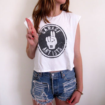 Garage Artist Crop Top Cropped Tank Tee Shirt Womens Summer Sleeveless Band Music Peace Sign Grunge Style