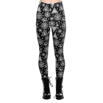 "Women's ""Symbols"" Leggings by Jawbreaker (Black)"