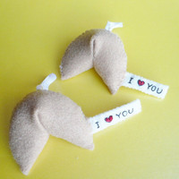 Funny Ornaments I love you Fortune Cookie x2 by TheOffbeatBear