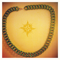 Green Chainmaille Necklace 3-n-1 half persian