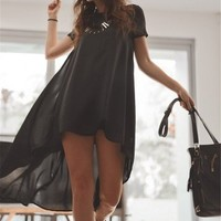 Sheinside Short Sleeve Split High Low Dress