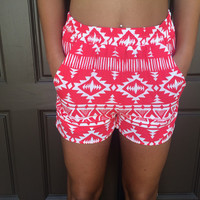 Alina Tribal Print Shorts With Pockets - Red