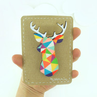 Geometric Deer Brooch Neon 'Stag Head' by SketchInc on Etsy