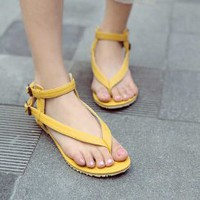 Wholesale Korea hot selling college wind style simple joker sandals Z-XW113 yellow - Lovely Fashion