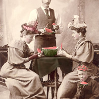 Eating Watermelon in Winnipeg late 1800&#x27;s Photo Scan by jdayminis