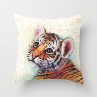 Tiger Cub Watercolor   Animal Art Throw Pillow by Olechka
