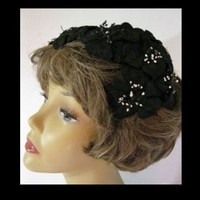 Vintage Womens Flower Covered Black Half Hat Fascinator | madhatsandmore - Accessories on ArtFire