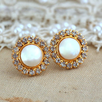 Gold Pearl studs crystal stud earrings Swarovski Crystal earring bridesmaid jewelry, pearl earrings