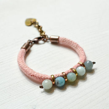 Rope and Amazonite Bracelet, Light Coral Cotton Rope and Aqua Colored Faceted Beads, Hand Dyed