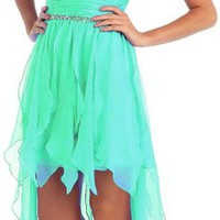 Prom Chiffon Strapless Sweetheart Dress High Low Gown #2886