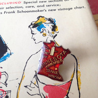 Vintage Minnesota Enamel Pin 1960's red and brass Minneapolis
