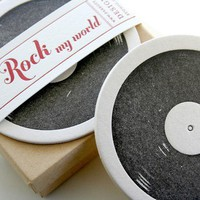 Record Letterpress Coaster set of 8 by sarahparrott825 on Etsy