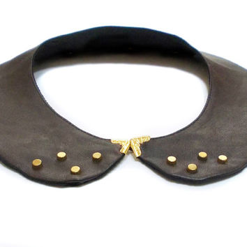 Leather Peter Pan collar necklace, FREE SHIPPING, Brown, Detachable collar, Gold beads collar