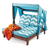 Outdoor Kid's Double Chaise Lounge Chair w/ Canopy