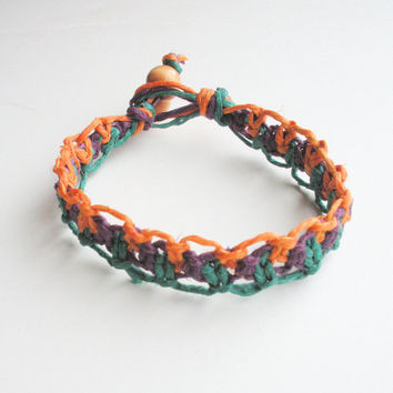 Lacy Hemp Bracelet in Orange, Purple and Green Tri Color, ready to ship.