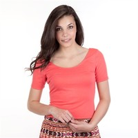 Lily White Juniors Cropped Tee with Double Scoop Neck at Von Maur