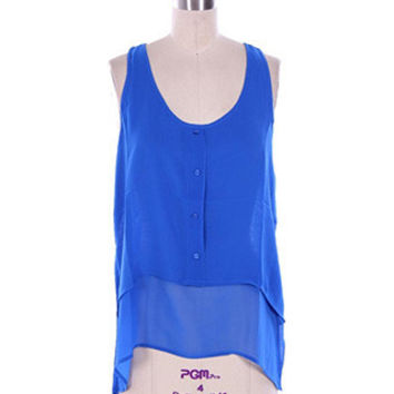 In Style Blue Chiffon Layered Top with Button Trim