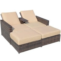 Outsunny Outdoor 3pc PE Rattan Wicker Patio Love Seat Lounge Chair Set