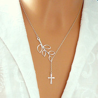 Cross Branch Necklace - Sterling Silver Cross Necklace -  Branch and Cross Pendant