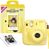 Fuji Instax Mini 8 N Yellow + Original Strap Set Fujifilm Instax Mini 8N Instant Camera