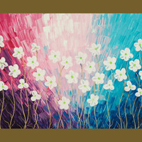 "Original Modern Abstract Heavy Texture Impasto Flower Wall Decor ""Spring Blooming"" by QiQiGallery"
