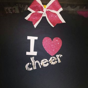 I love Cheer Tee with Matching Bow